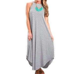 Dresses & Skirts - Minimalist Chic Stripe Racerback Maxi Dress, S-XL